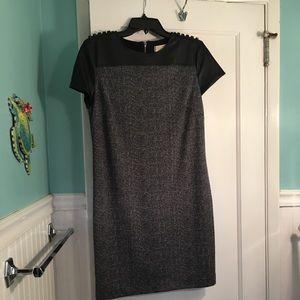 Michael Michael Kors FauxLeather Herringbone Dress
